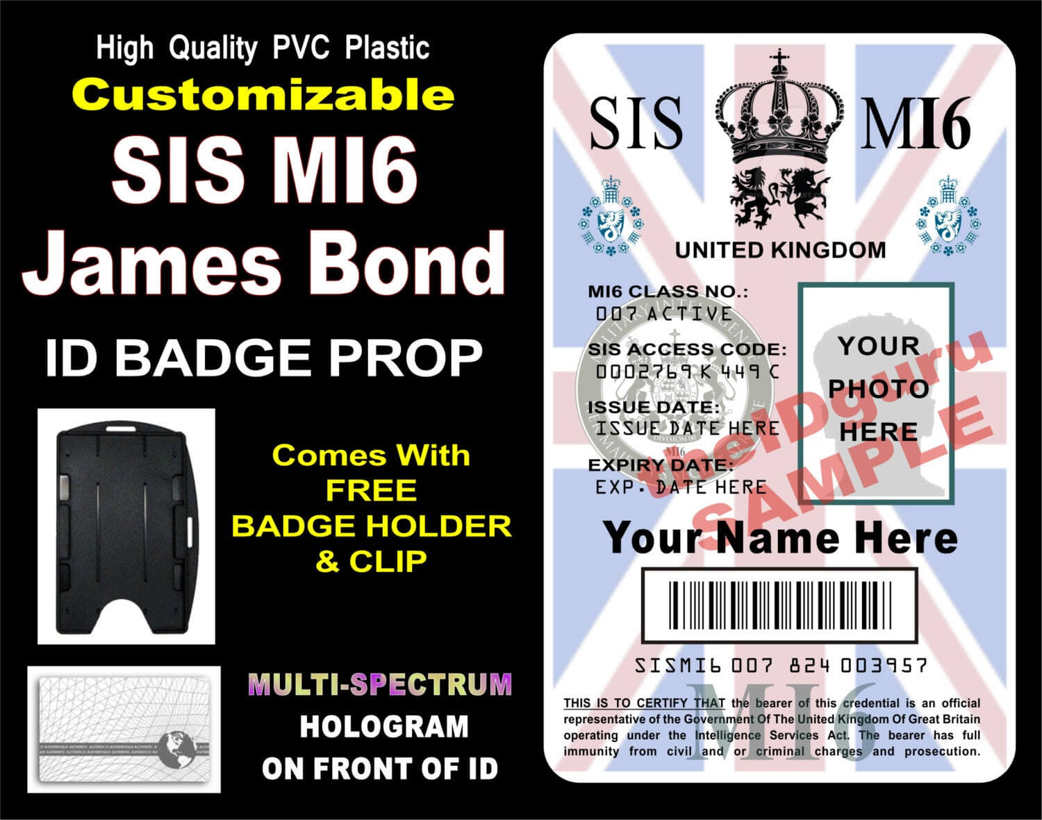 James Bond (Sis Mi6) Id Badge / Card Prop ~ Custom Printed With Your Info &  Photo ~ Pvc Plastic Holographic Card - Usa Made Inside Mi6 Id Card Template