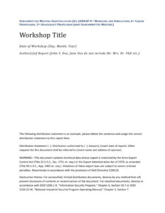 Jannaf Workshop Final Report Template in Section 7 Report Template