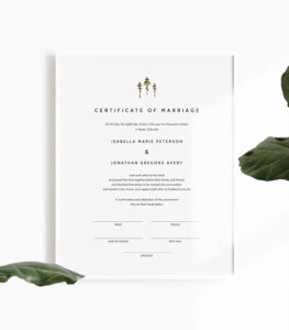 Jenna – Rustic Pine Marriage Certificate Template, Marriage Certificate  Printable, Printable Wedding Vows, Wedding Certificate Keepsake within Certificate Of Marriage Template