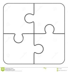 Jigsaw Puzzle Blank 2X2, Four Pieces Stock Illustration with regard to Blank Jigsaw Piece Template