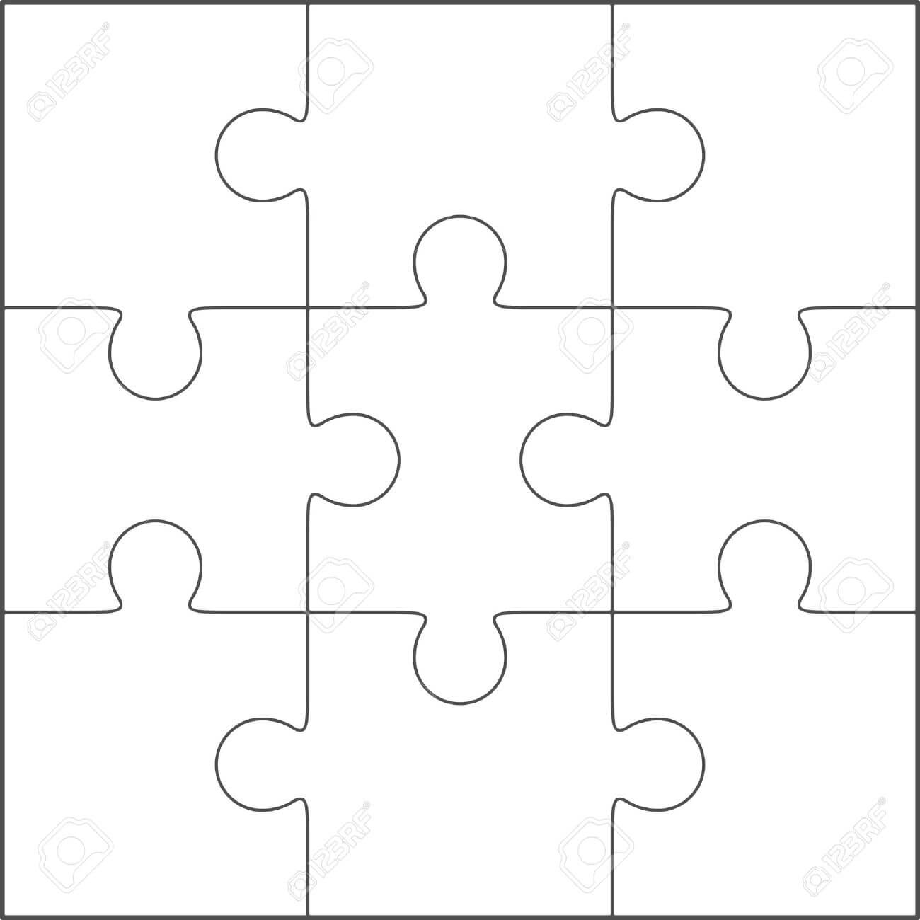 Jigsaw Puzzle Vector, Blank Simple Template 3X3 Throughout Blank Jigsaw Piece Template