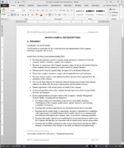 Job Descriptions Iso Template | Qp1070 5 Within Job Descriptions Template Word