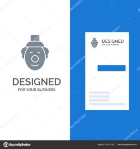 Joker Clown Circus Grey Logo Design Business Card Template within Joker Card Template