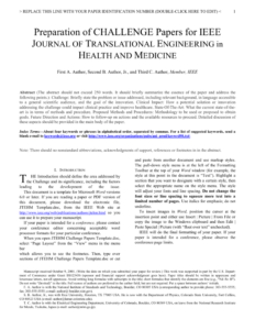 Jtehm Challenge Papers Template with Ieee Journal Template Word