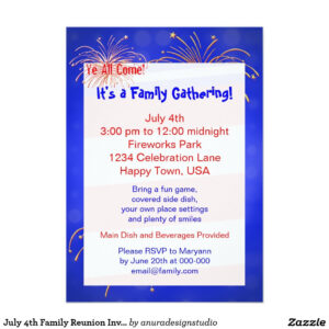 July 4Th Family Reunion Invitation | Zazzle | Family with Reunion Invitation Card Templates