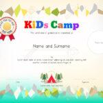 Kids Summer Camp Diploma Or Certificate Template Award Ribbon.. For Summer Camp Certificate Template