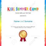 Kids Summer Camp Diploma Or Certificate Template Award Seal With.. In Summer Camp Certificate Template