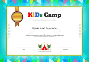 Kids Summer Camp Diploma Or Certificate Template With Colorful.. within Summer Camp Certificate Template