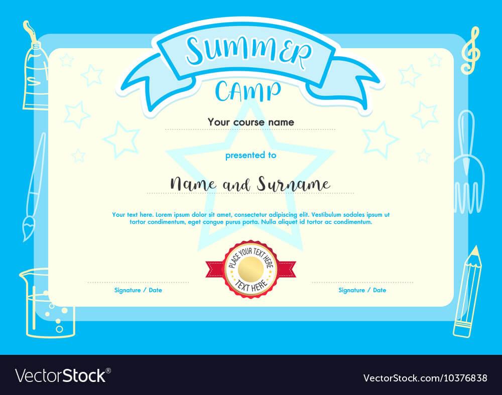 Kids Summer Camp Document Certificate Template With Summer Camp Certificate Template