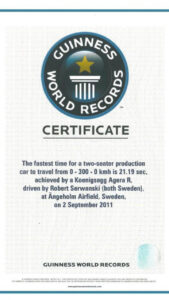 Koenigsegg Agera R Guiness World Record Certificate 30.11 for Guinness World Record Certificate Template