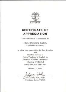 Kotesol Presidential Certificate Of Appreciation (1997 for Army Certificate Of Achievement Template