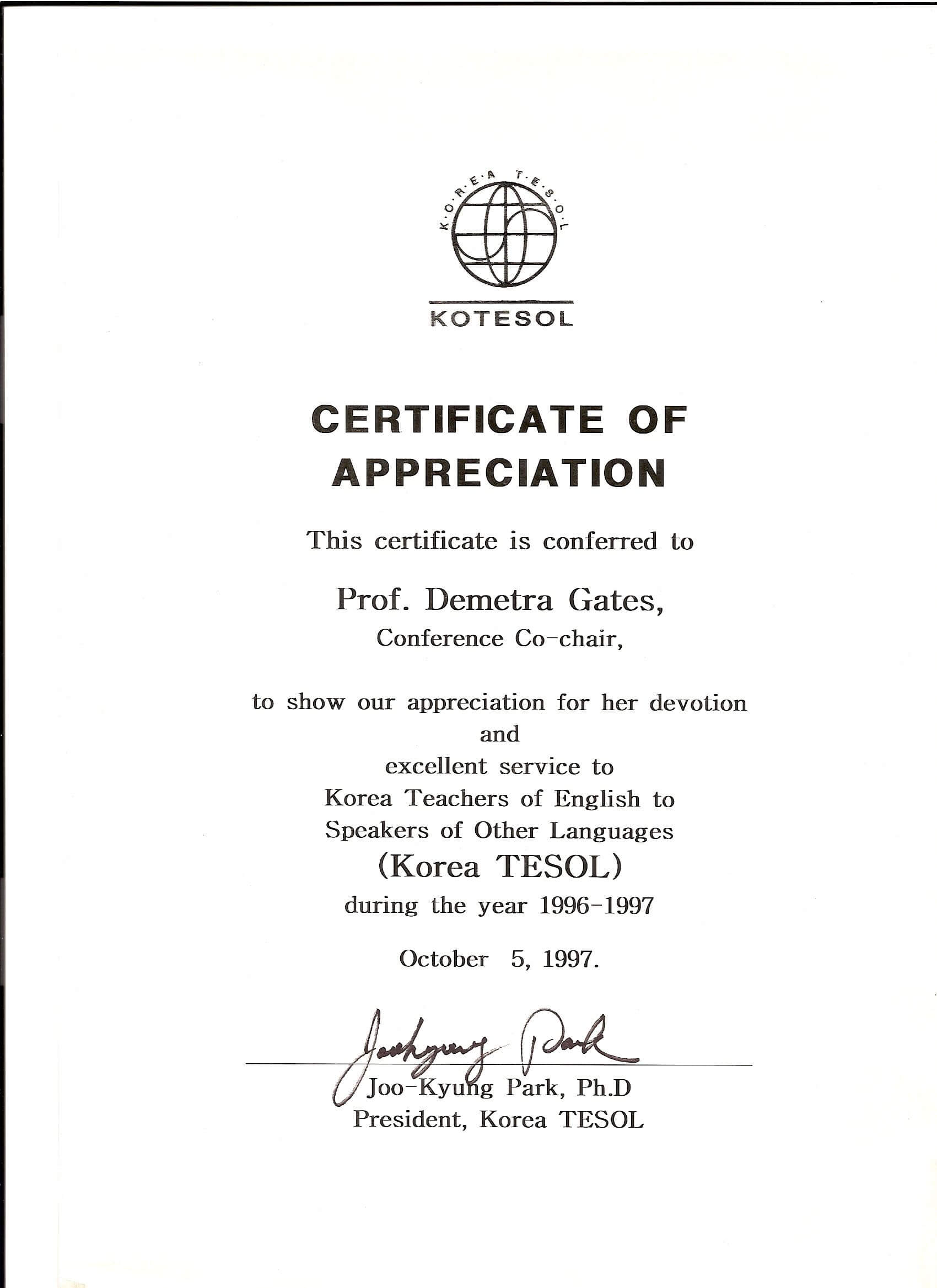 Kotesol Presidential Certificate Of Appreciation (1997 Pertaining To Certificate Of Attendance Conference Template