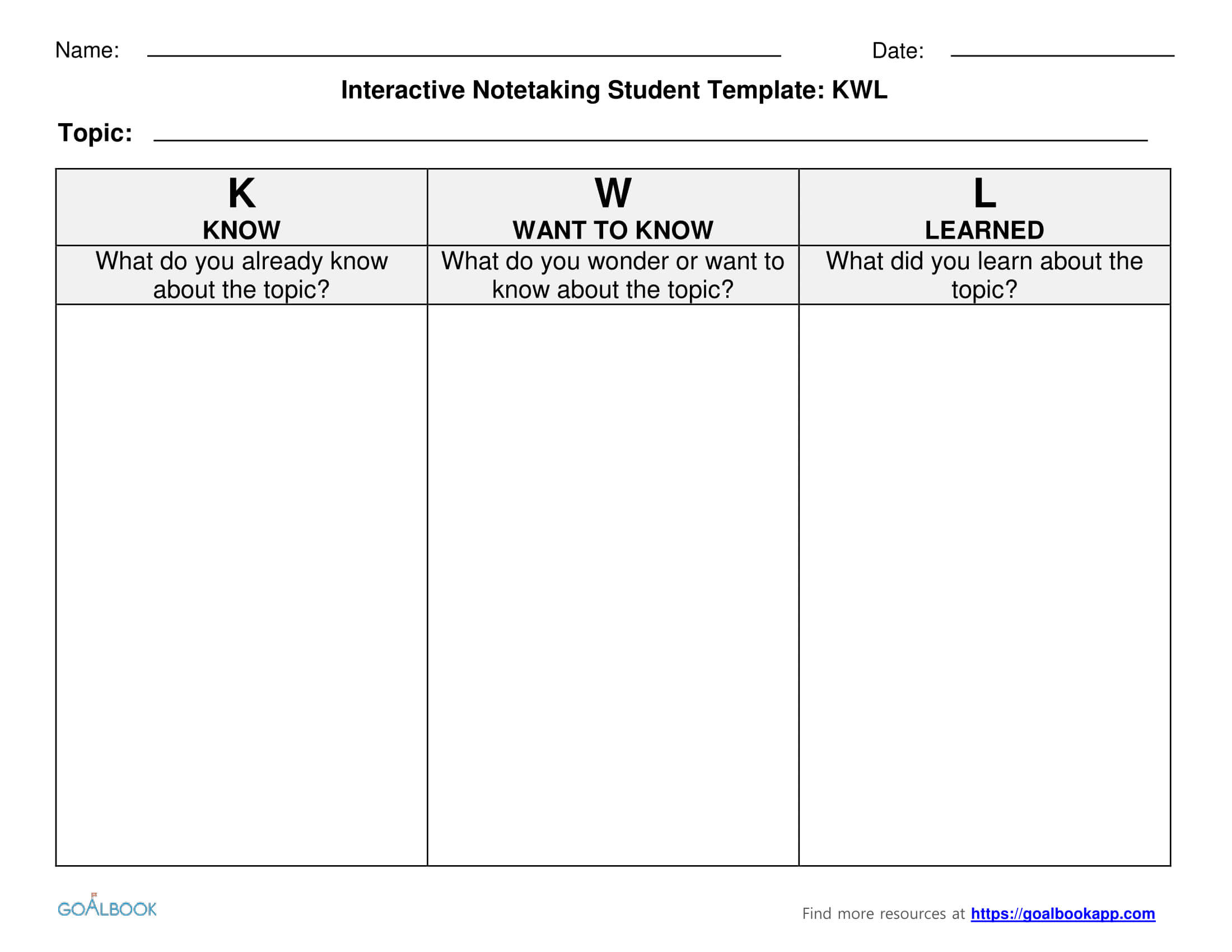 Kwl Charts For Interactive Notetaking | Instructional Design Inside Kwl Chart Template Word Document