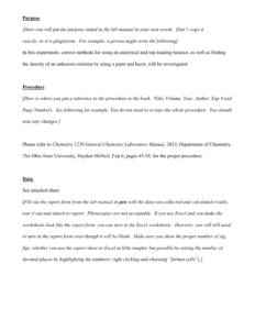 Lab Report Example – Osu Chemistry for Chemistry Lab Report Template