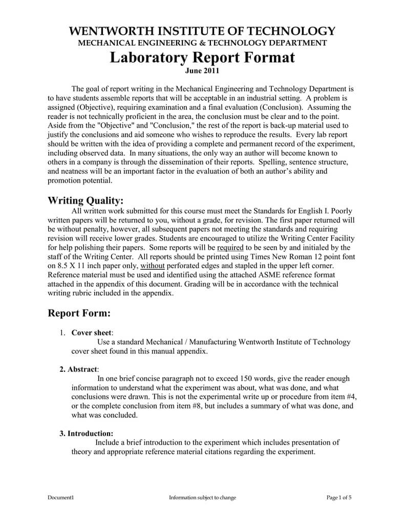 Laboratory Report Format In Engineering Lab Report Template