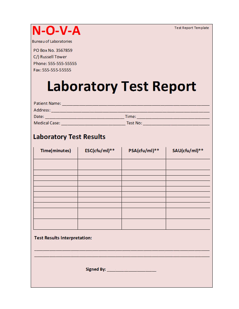 Laboratory Test Report Template Inside Medical Report Template Free Downloads