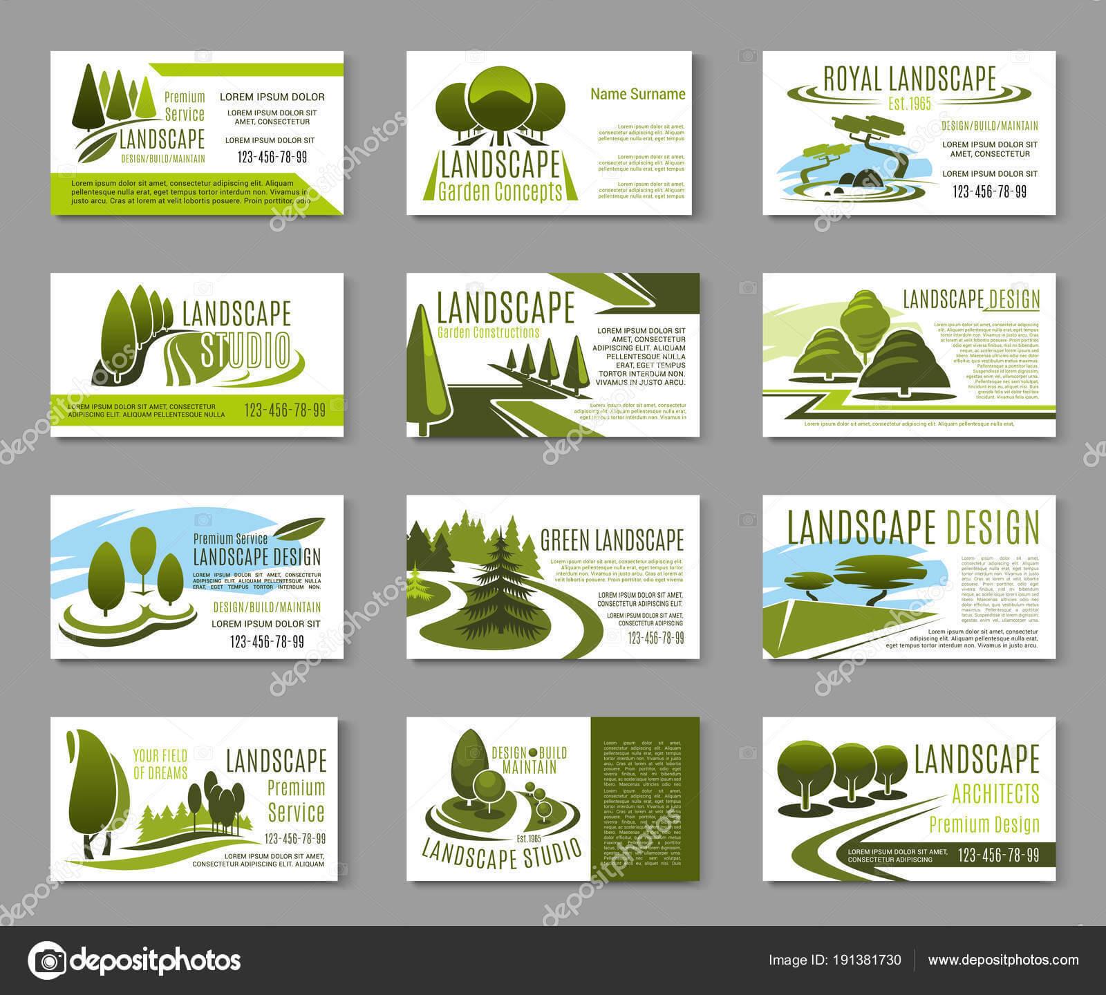 Landscape Design Business Cards | Landscape Design Studio For Landscaping Business Card Template