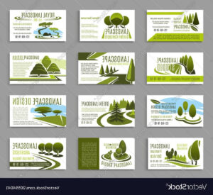 Landscape Design Studio Business Card Template Vector for Landscaping Business Card Template
