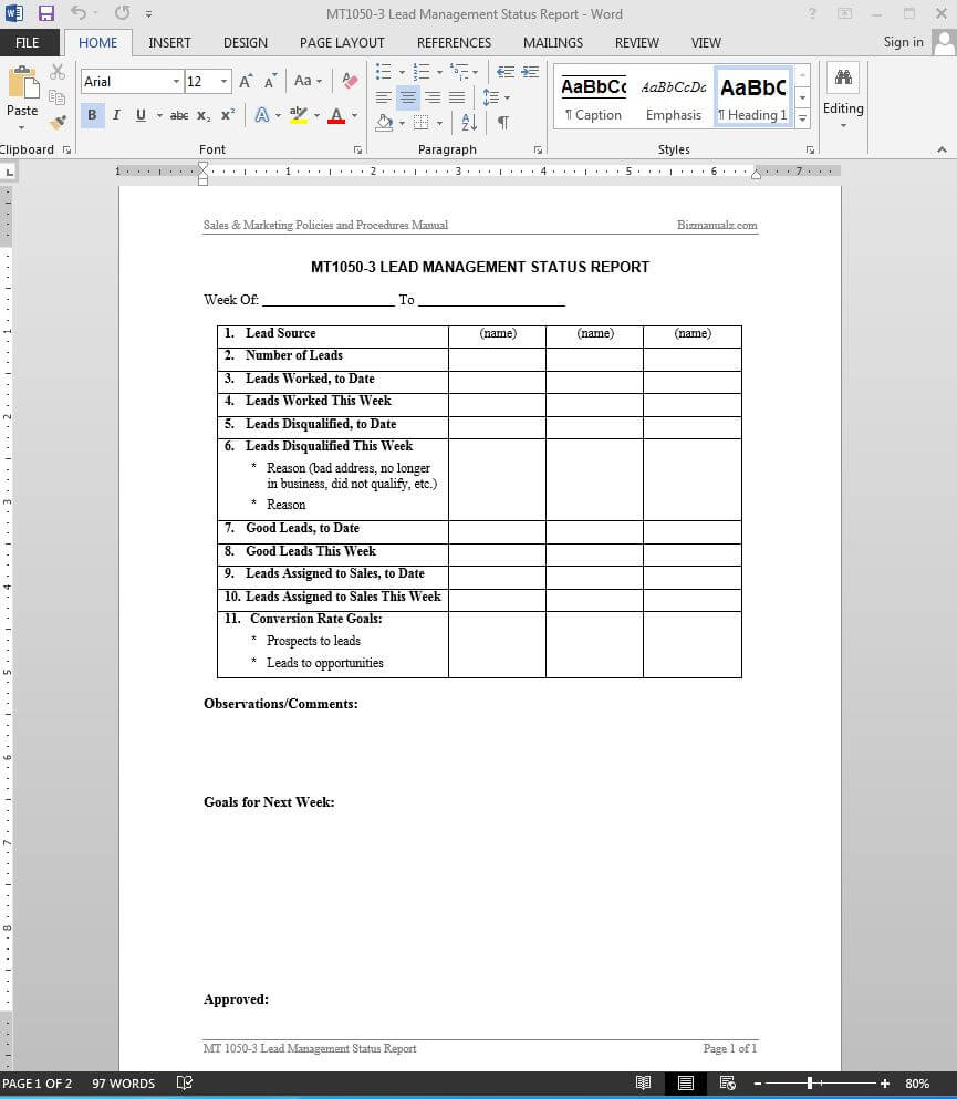Lead Management Status Report Template | Mt1050 3 In Sales Lead Report Template