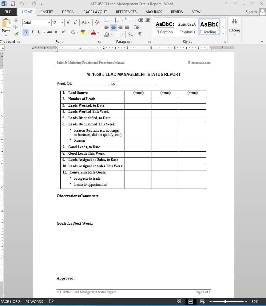 Lead Management Status Report Template | Mt1050 3 Within Sales Management Report Template