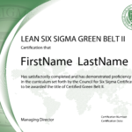 Lean Six Sigma Green Belt Certification - Level Ii - The within Green Belt Certificate Template