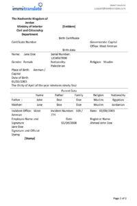 Legal Document Translation pertaining to Uscis Birth Certificate Translation Template