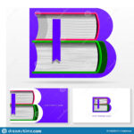Letter B Logo Design Template. Letter B Made Of Books With Library Catalog Card Template