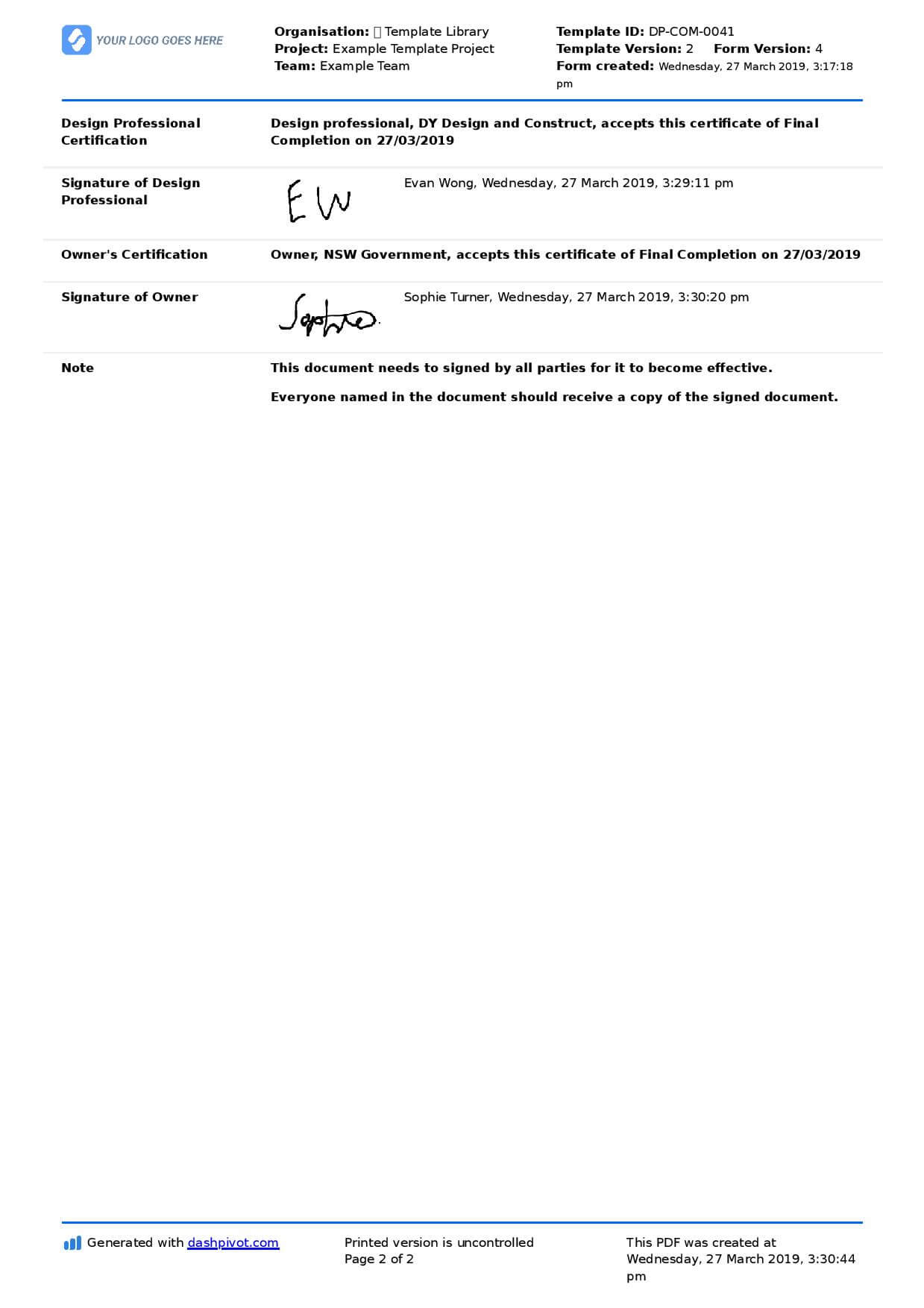 Letter Of Completion Of Work Sample (Use Or Copy For Yourself) With Practical Completion Certificate Template Uk