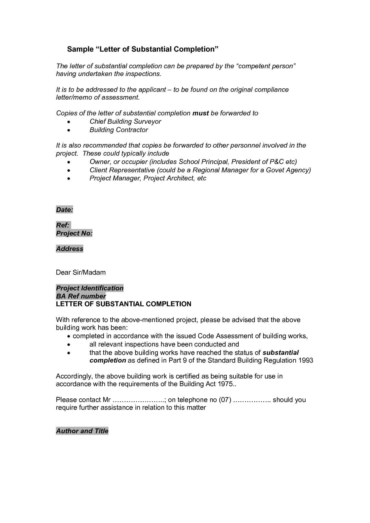 Letter Of Substantial Completion Template Examples | Letter In Certificate Of Substantial Completion Template