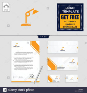 Light Interior Logo Template, Vector Illustration And inside Business Card Letterhead Envelope Template