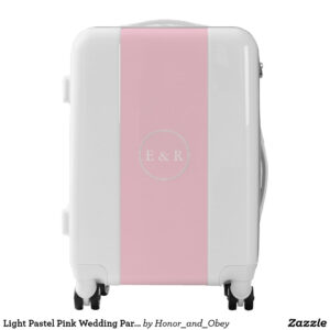 Light Pastel Pink Wedding Party Set Luggage   Zazzle for Blank Suitcase Template