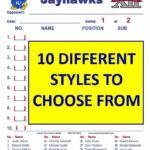 Lineup Cards (30 – 100) With Regard To Dugout Lineup Card Template
