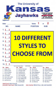 Lineup Cards (30 – 100) within Softball Lineup Card Template