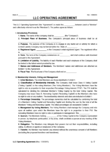 Llc Operating Agreement Template   Create A Free Llc Agreement within Llc Annual Report Template