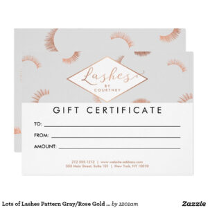 Lots Of Lashes Pattern Gray/rose Gold Gift Card | Zazzle for Salon Gift Certificate Template