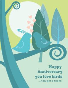 Love Birds Wedding Anniversary Card Template Template – Venngage within Template For Anniversary Card