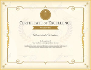 Luxury Certificate Template With Elegant Border Frame, Diploma.. intended for Commemorative Certificate Template