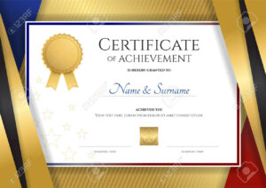Luxury Certificate Template With Elegant Golden Border Frame,.. in Elegant Certificate Templates Free
