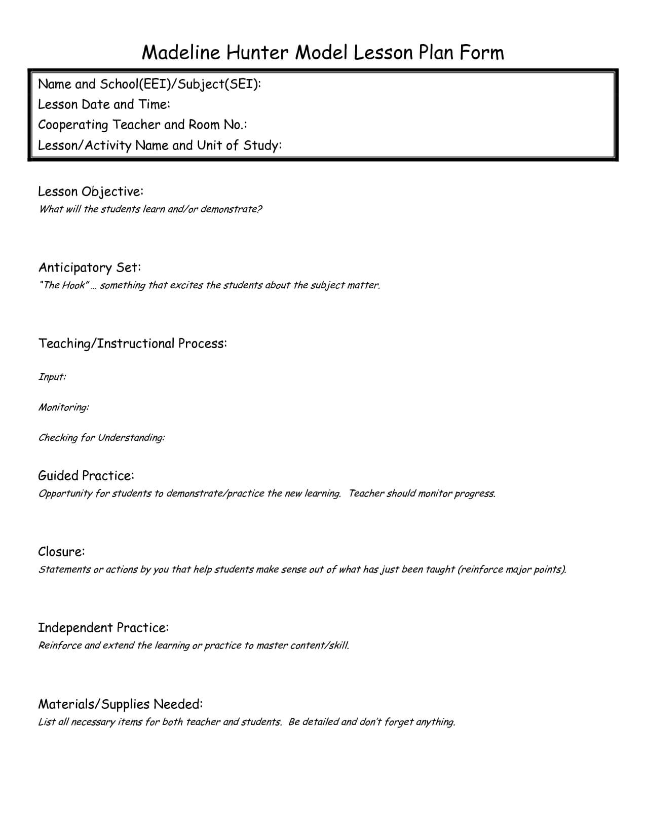 Madeline Hunter Lesson Plan Format Template - Google Search throughout Madeline Hunter Lesson Plan Blank Template