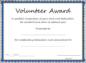 Magnificent Free Printable Certificate Templates Word Fun for Volunteer Of The Year Certificate Template