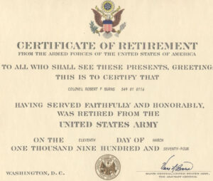 Major Robert F. Burns – Army Retirement Certificate For In Retirement Certificate Template
