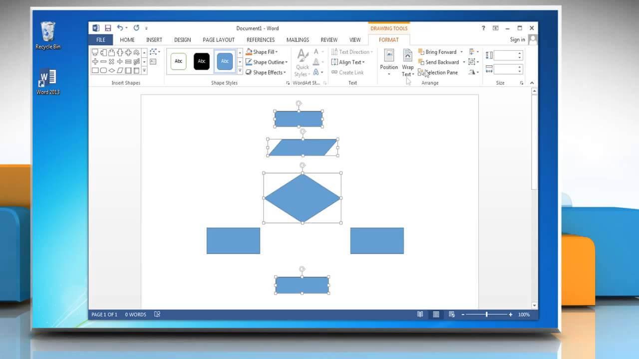 Make A Flowchart In Microsoft Word 2013 Regarding Microsoft Word Flowchart Template