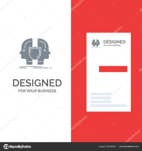 Man Face Dual Identity Shield Grey Logo Design Business Card inside Shield Id Card Template