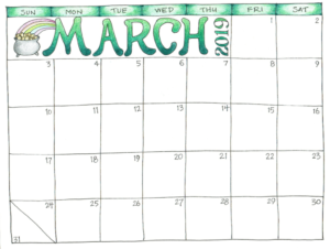 March 2019 Printable Calendar For Kids #marchcalendar regarding Blank Calendar Template For Kids