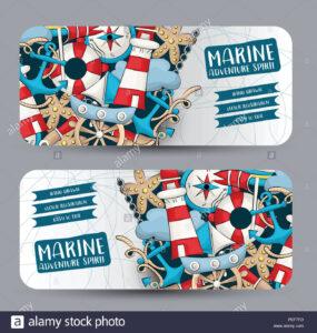 Marine Nautical Travel Concept. Horizontal Banner Template regarding Nautical Banner Template