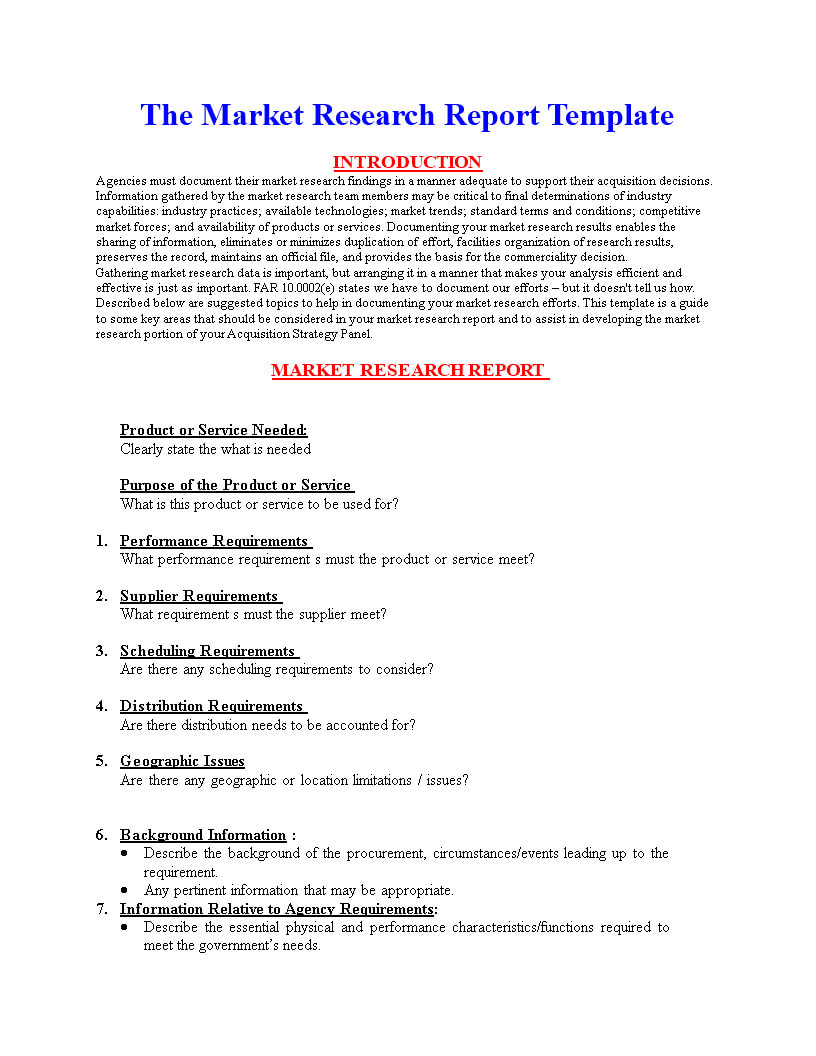 Market Research Report Format | Templates At Pertaining To Market Research Report Template