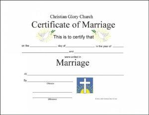 Marriage Certificate Template – Certificate Templates with regard to Certificate Of Marriage Template