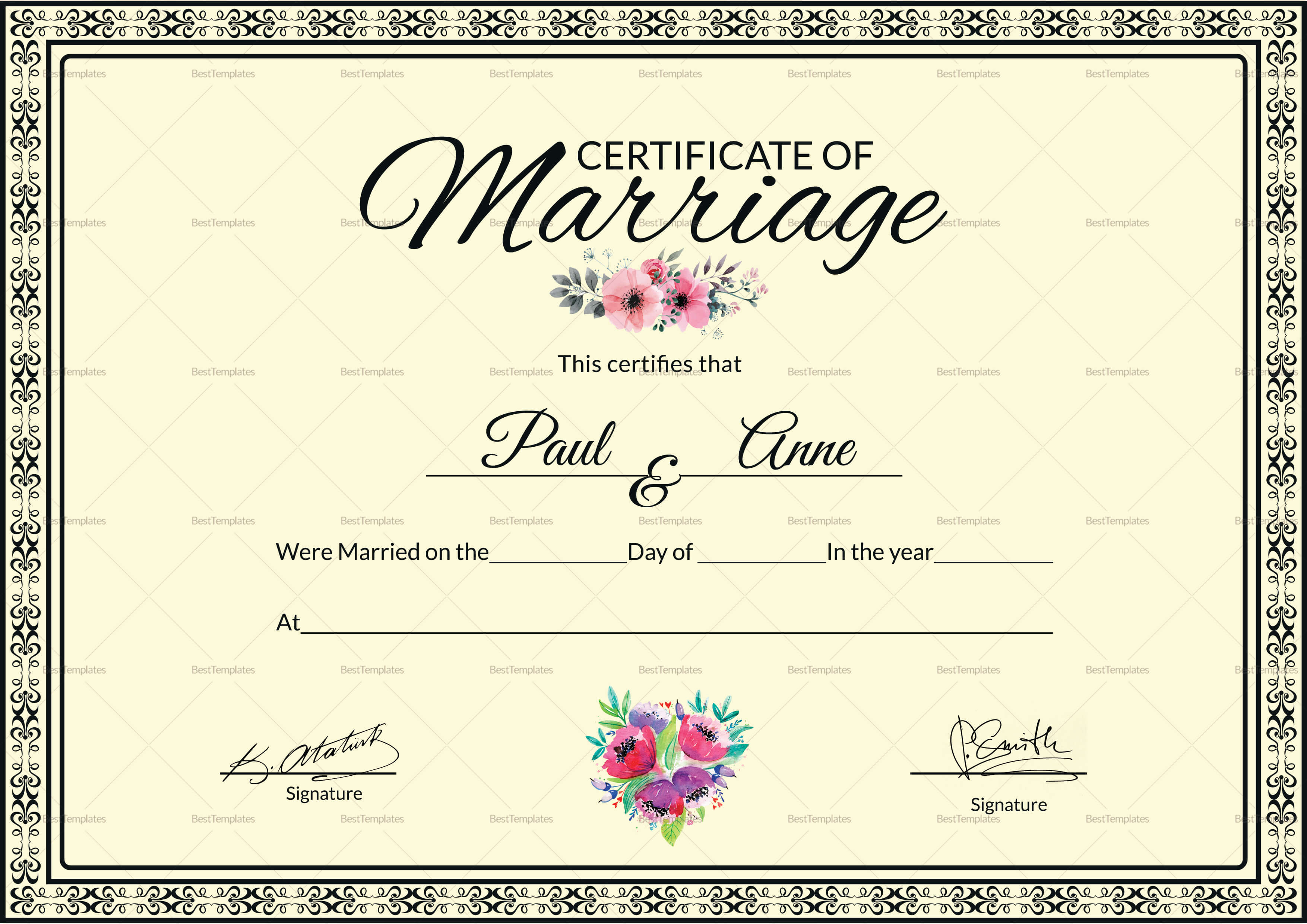Marriage Certificate Template Within Certificate Of Marriage Template