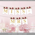 Marsala Party Banner Printable, Burgundy Floral Party Intended For Bride To Be Banner Template