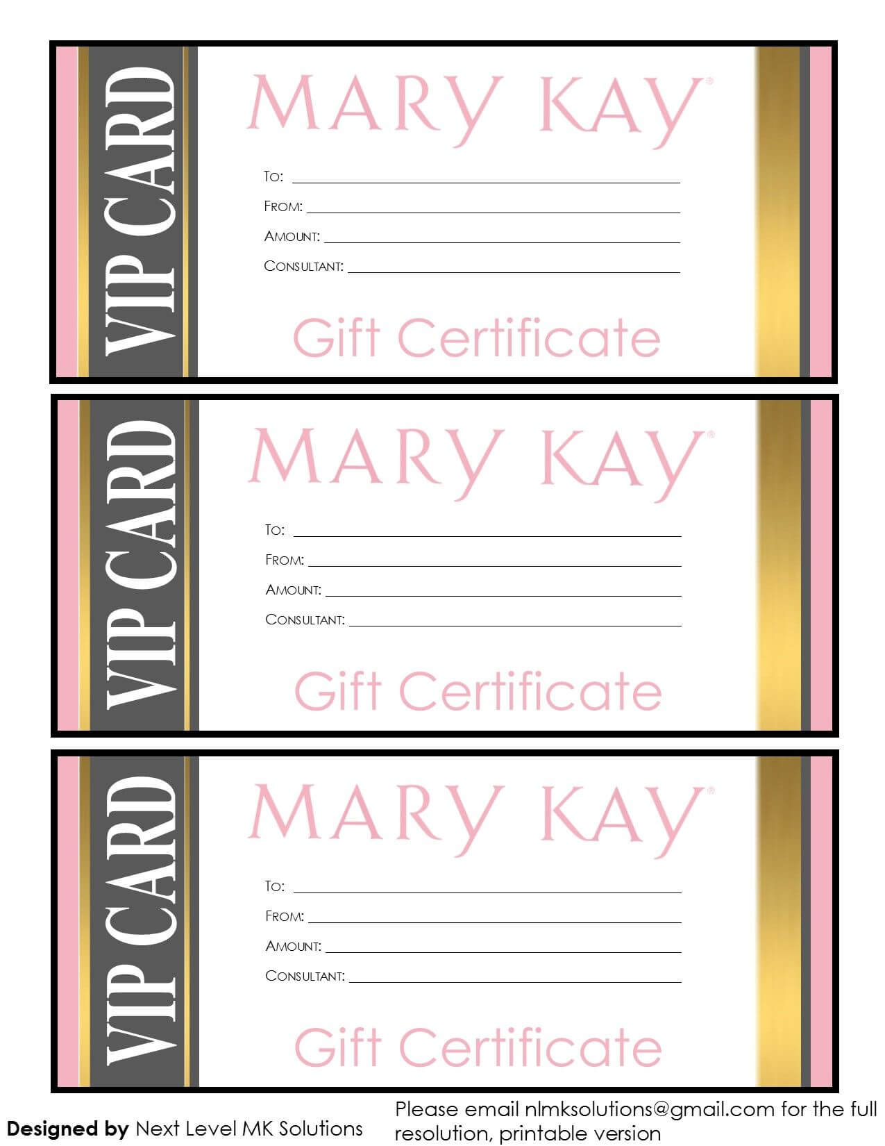 Mary Kay Gift Certificates - Please Email For The Full Pdf In Mary Kay Gift Certificate Template